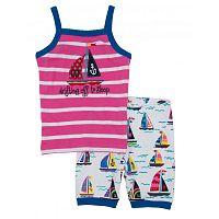Hatley Dievčenské letné pyžamo s lodičkami - ružovo-biele, 10 let
