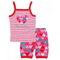 Hatley Dievčenské letné pyžamo so srdiečkami - ružové, 5 let