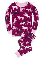 Hatley Dievčenské pyžamo s koníkmi - tmavo ružové, 4 roky