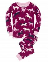 Hatley Dievčenské pyžamo s koníkmi - tmavo ružové