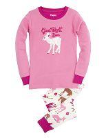 Hatley Dievčenské pyžamo s lankom - bielo-ružové, 7 let