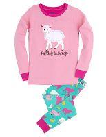 Hatley Dievčenské pyžamo s ovečkou - farebné, 7 let