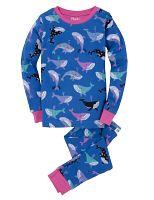Hatley Dievčenské pyžamo s veľrybami - modré, 8 let