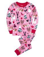 Hatley Dievčenské pyžamo so zimnými motívmi - ružové, 8 let