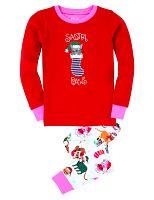 Hatley Dievčenské vianočné pyžamo s mačičkou - červeno-biele, 7 let