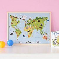 Housedecor Nástenný obraz Mapa zvieratiek