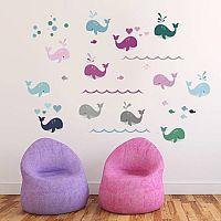 Housedecor Samolepka na stenu Farebné veľryby