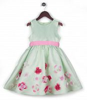 Joe and Ella Fashion Dievčenské šaty Layla s kvetinami - svetlozelené, 110 cm
