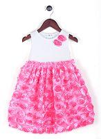 Joe and Ella Fashion Dievčenské šaty Sandra s ružičkami - ružovo-biele, 74 cm