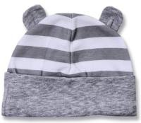 Lafel Detská prúžkovaná čiapka Panda s uškami - sivá, 68 cm