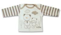 Lafel Detské tričko Macko - bielo-hnedé, 74 cm