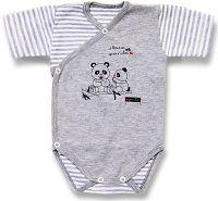 Lafel Detské zavinovacie body Panda s Kr. rukávom - šedé, 68 cm