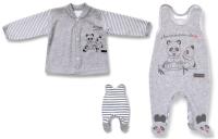 Lafel Detský set kabátiku a dupačiek Panda - sivý, 62 cm