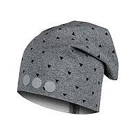 Lamama Detská vzorovaná čiapka s reflexnou potlačou - šedá, 46-48 cm