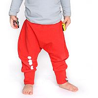 Lamama Detské bavlnené nohavice s reflexným potlačou - červené, 92 cm