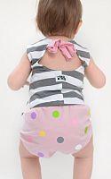 Lamama Nohavičky na plienku bodkované 6-12 mesiacov (74/80 cm) - svetlo ružové, 6-12 měsíců