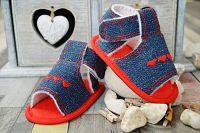 Lola Baby Dievčenské sandálky so srdiečkami - modro-červené, EUR 19