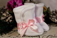 Lola Baby Dievčenské zimné topánočky s gombíkmi a mašľou - ružovo-biele, EUR 20