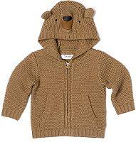Minoti Detský sveter s kapucňou Bear 13 - hnedý, 68-74 cm