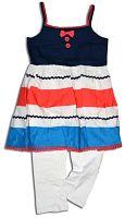 Minoti Dievčenské set - nohavice a top CORAL 5 - bielo-modrý, 80 cm