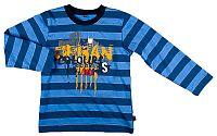 MMDadak Chlapčenské pruhované tričko s nápisom - modré, 134 cm