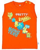 MMDadak Chlapčenské tričko bez rukávov Pretty Monster - oranžové, 68 cm