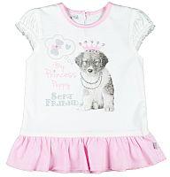 MMDadak Dievčenská tunika s potlačou šteniatka Psíci - biela, 80 cm