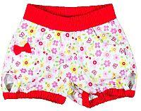 MMDadak Dievčenské kvetované šortky s mašličkou Cerises - červeno-biele, 116 cm