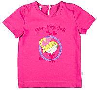 MMDadak Dievčenské tričko s potlačou dievčatka Miss Popular - ružové, 80 cm