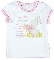 MMDadak Dievčenské tričko Zajačik - biele, 68 cm
