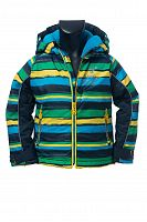 O'Style Chlapčenská zateplená pruhovaná bunda - zelená, 116 cm