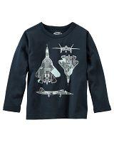 Oshkosh Chlapčenské tričko s lietadlom - čierne, 92 cm