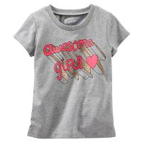 Oshkosh Dievčenské tričko s ružovým nápisom - šedé, 92 cm