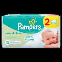 Pampers obrúsky Naturally Clean 2x64 ks