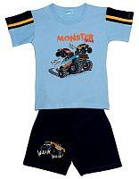 Pettino Chlapčenské pyžamo s monster truckom - svetlo modré, 122 cm