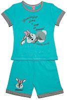 Pettino Dievčenské pyžamo so zajačikom - tyrkysové, 98 cm