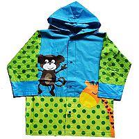 PIDILIDI Detská pláštenka s opičkou a žirafou - zeleno-modrá, 128 cm