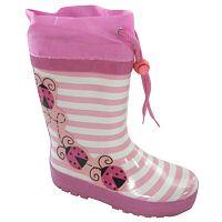 PIDILIDI Dievčenské pruhované čižmy - ružovo-biele, EUR 28