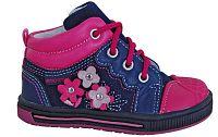 Protetika Dievčenské kožené členkové topánky Helen s kvietkami - ružovo-modré, EUR 20