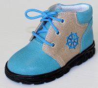 První krůčky Chlapčenské kožené celoročné topánky Kormidlo - svetlo modrá / svetlo hnedá, EUR 22