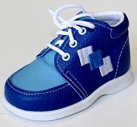 První krůčky Chlapčenské kožené topánočky Farebné kocky TR - modrá / svetlo modrý priehlavok, EUR 21