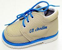 První krůčky Chlapčenské kožené topánočky - slonová kosť / modrý lem, Už chodím, EUR 19