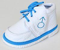 První krůčky Chlapčenské kožené topánočky Znak chlapec - biela / svetlo modrý lem, EUR 21