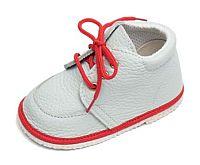 První krůčky Detské kožené topánočky - biela / červená, EUR 22
