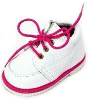 První krůčky Detské kožené topánočky - biela / fuksia, EUR 22