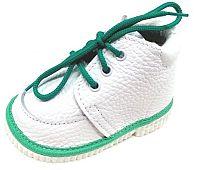 První krůčky Detské kožené topánočky - biela / zelená, EUR 21