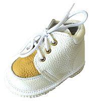 První krůčky Detské kožené topánočky - biela / žltá, EUR 19