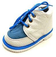 První krůčky Detské kožené topánočky - bielo-modré, EUR 19