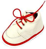 První krůčky Detské kožené topánočky - slonová kosť / červený lem, EUR 19
