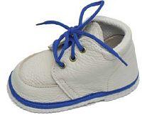 První krůčky Detské kožené topánočky - slonová kosť / modrý lem, EUR 22
